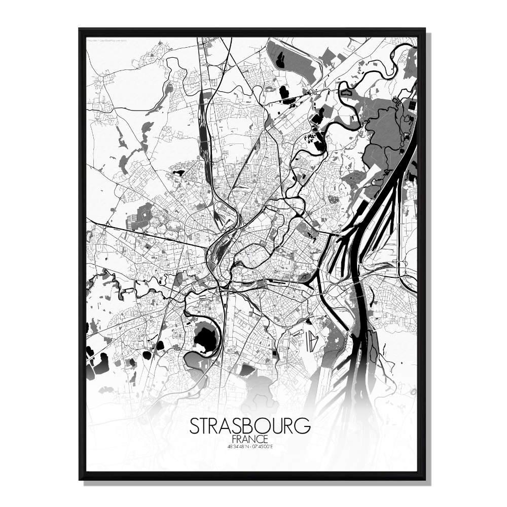 STRASBOURG - Carte City Map N&B 40x50cm