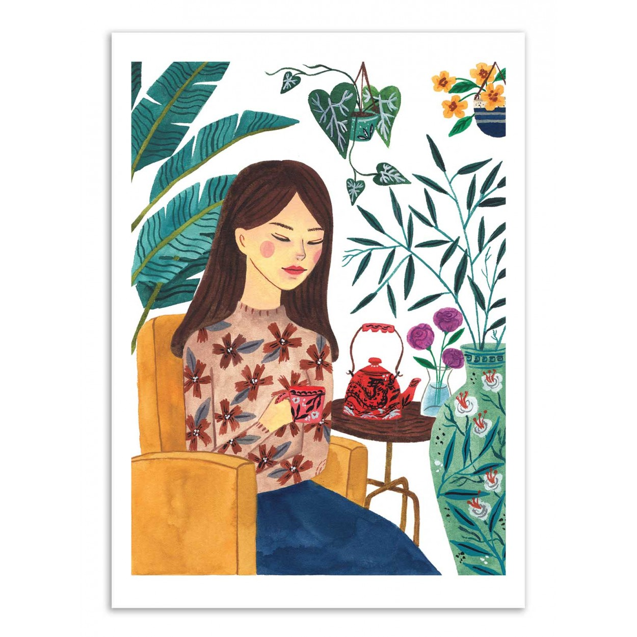 TEA TIME LADY - Affiche d'art 50 x 70 cm