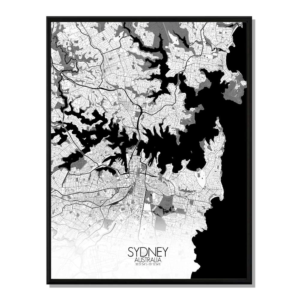 SYDNEY - Carte City Map N&B 40x50cm