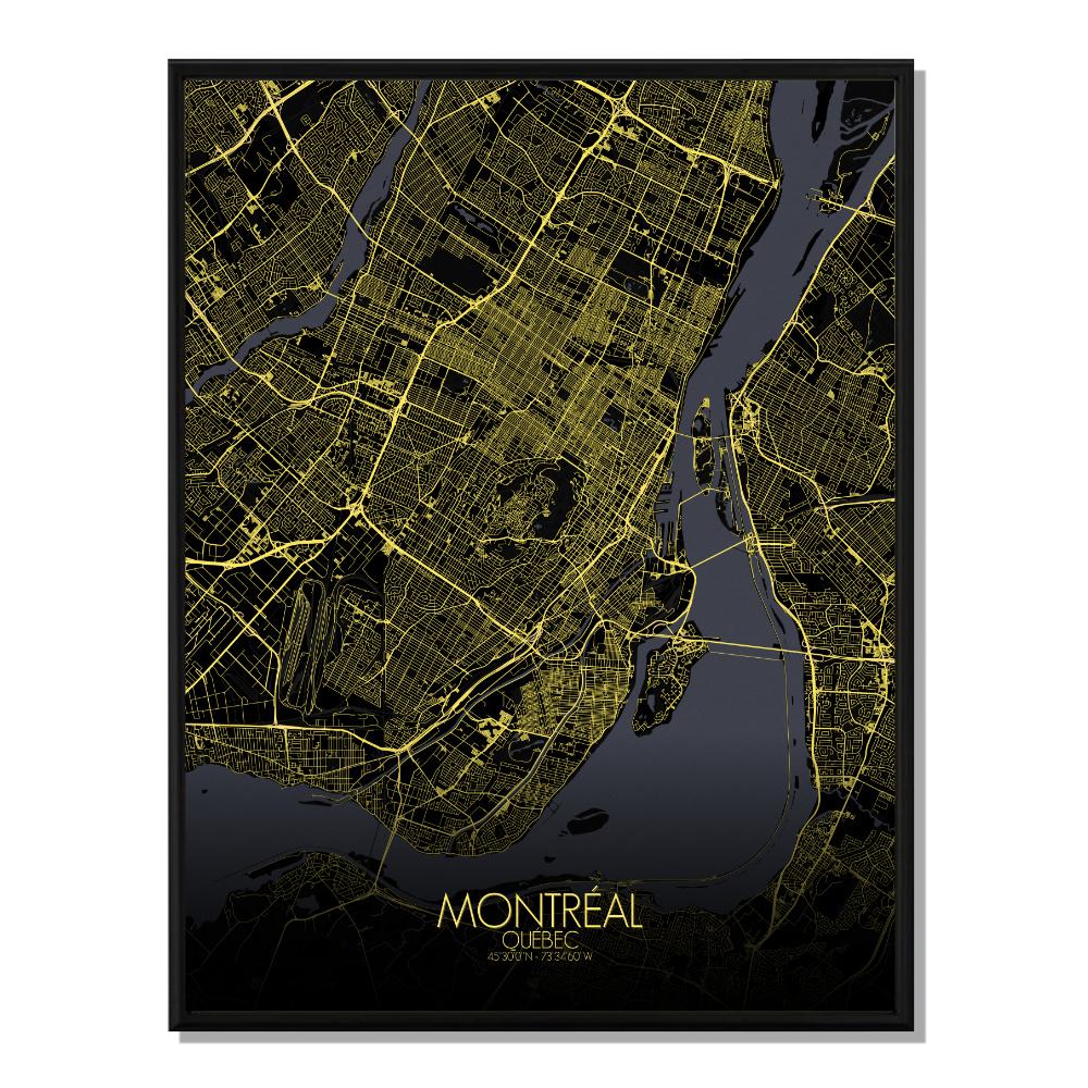 MONTREAL - Carte City Map Nuit 40x50cm