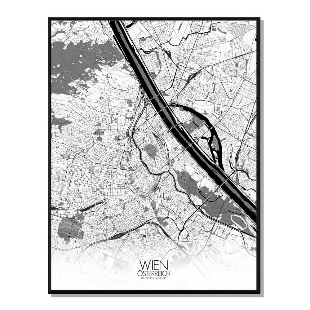 VIENNE - Carte City Map N&B 40x50cm