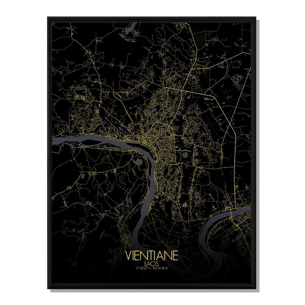 VIENTIANE - Carte City Map Nuit 40x50cm
