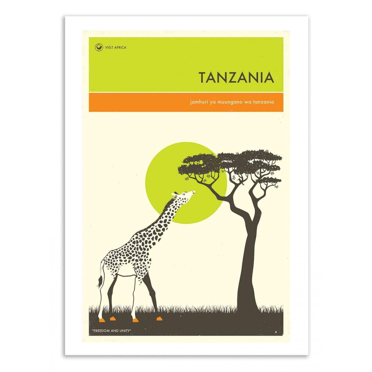 TANZANIA TRAVEL POSTER - Affiche d'art 50 x 70 cm