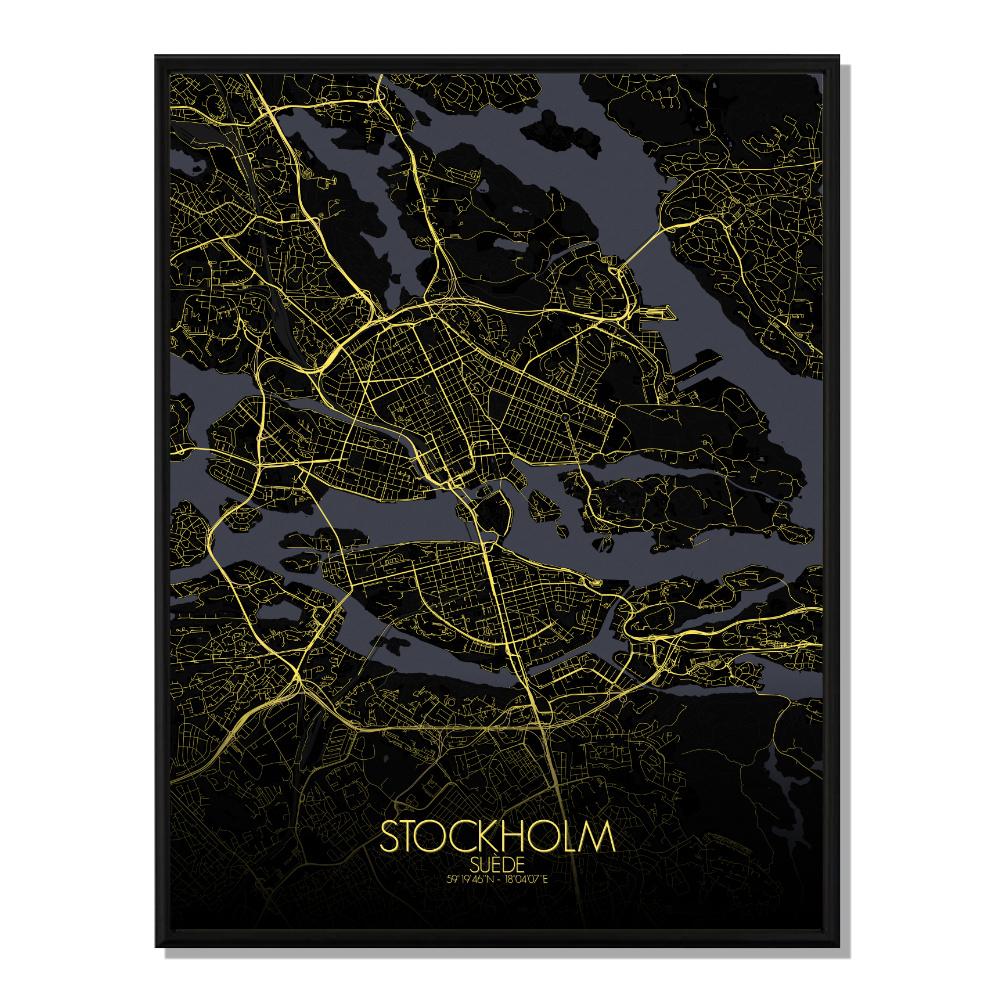 STOCKHOLM - Carte City Map Nuit 40x50cm