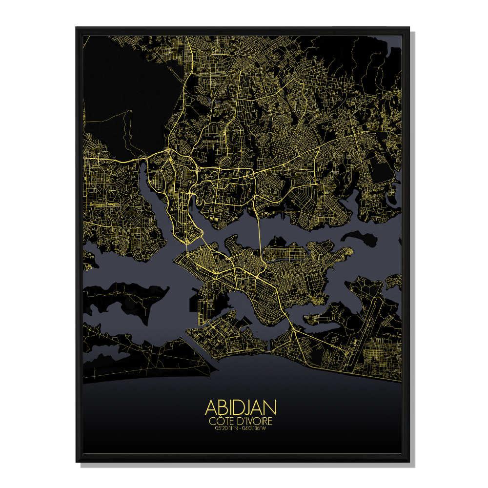 ABIDJAN - Carte City Map Nuit 40x50