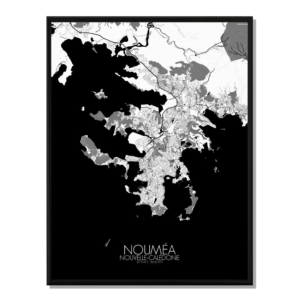 NOUMEA - Carte City Map N&B 40x50cm