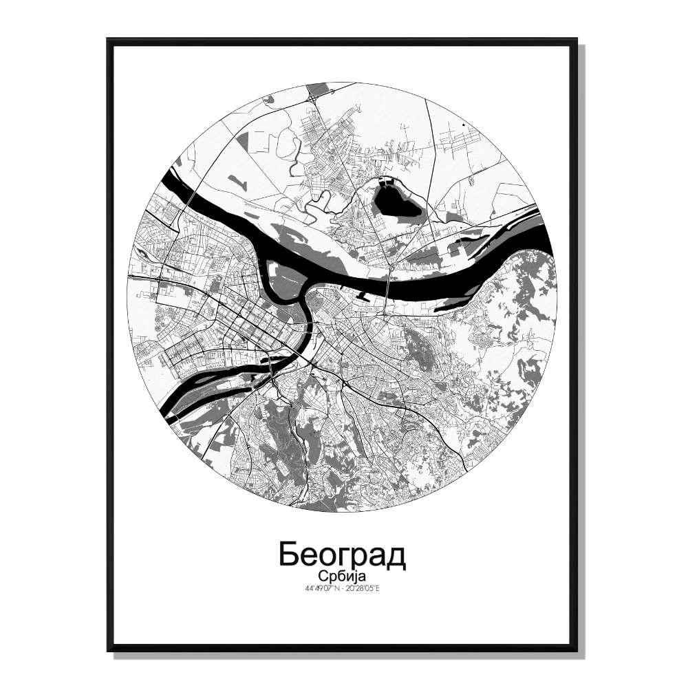 BELGRADE - Carte City Map Rond 40x50cm