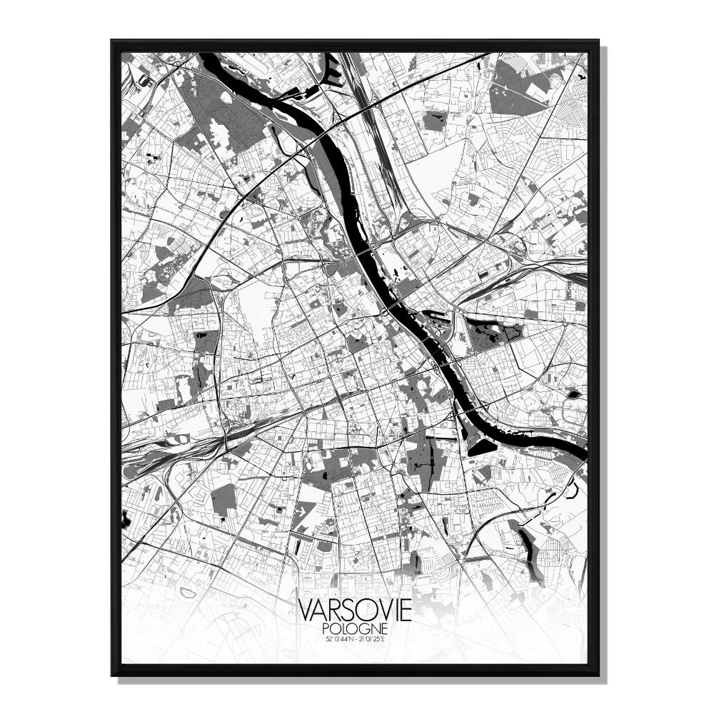 VARSOVIE - Carte City Map N&B 40x50cm
