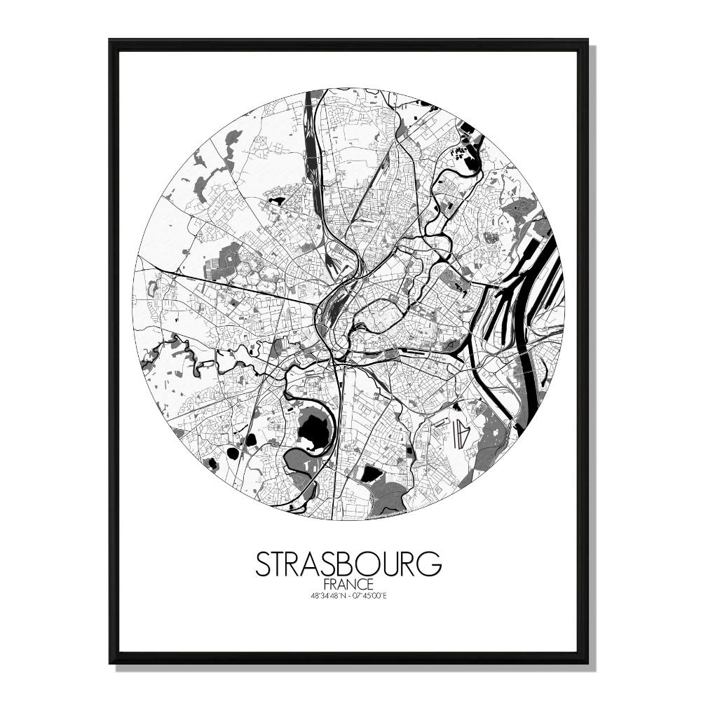 STRASBOURG - Carte City Map Rond 40x50cm
