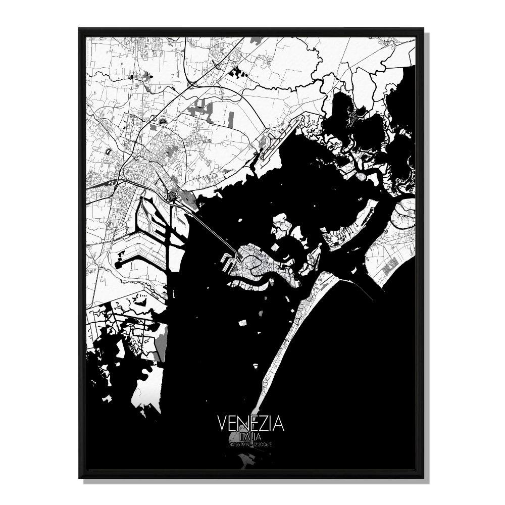 VENISE - Carte City Map N&B 40x50cm