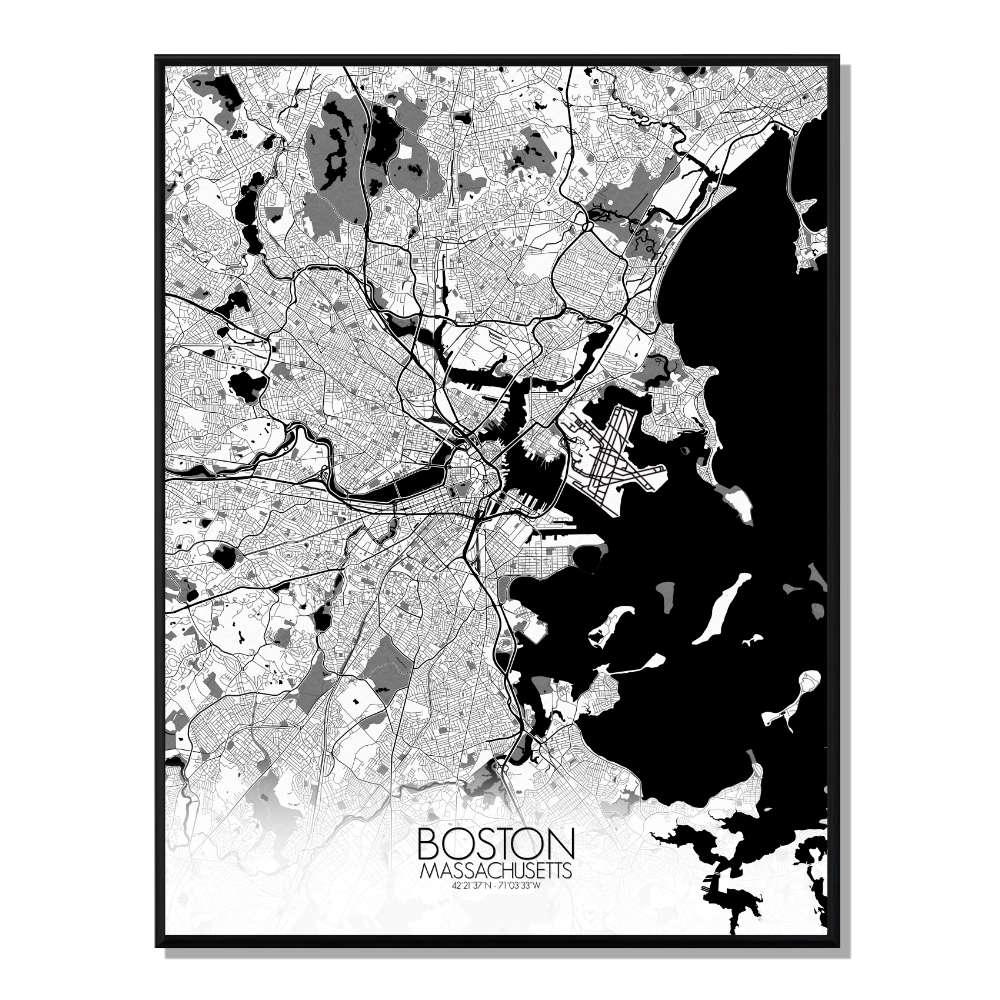 BOSTON - Carte City Map N&B 40x50cm