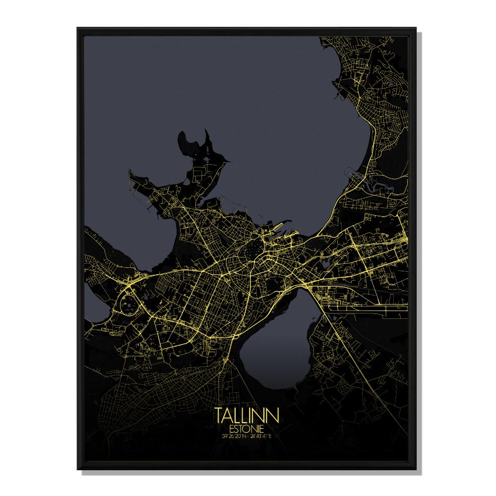 TALLINN - Carte City Map Nuit 40x50cm