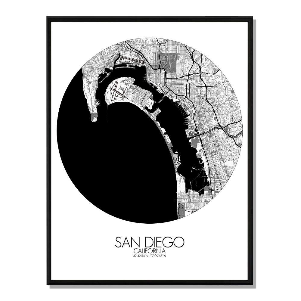 SAN DIEGO - Carte City Map Rond 40x50cm