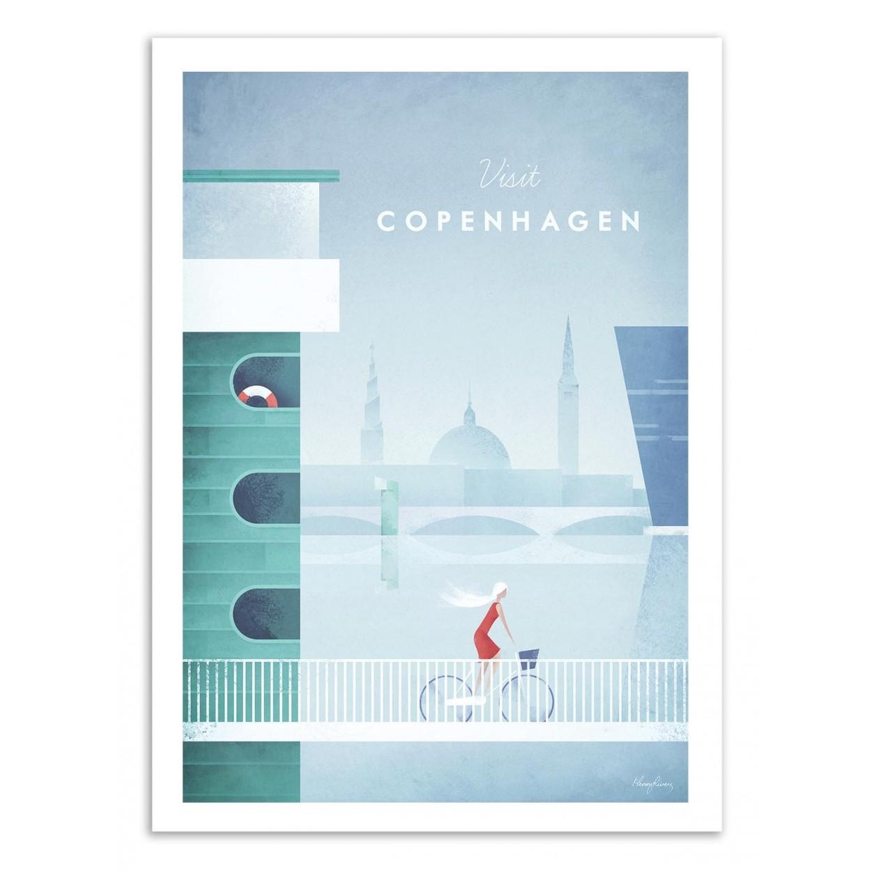 VISIT COPENHAGEN -  Affiche d'art 50 x 70 cm