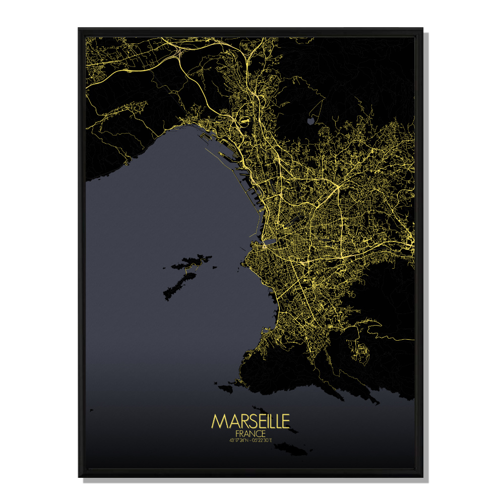 MARSEILLE - Carte City Map Nuit 40x50cm