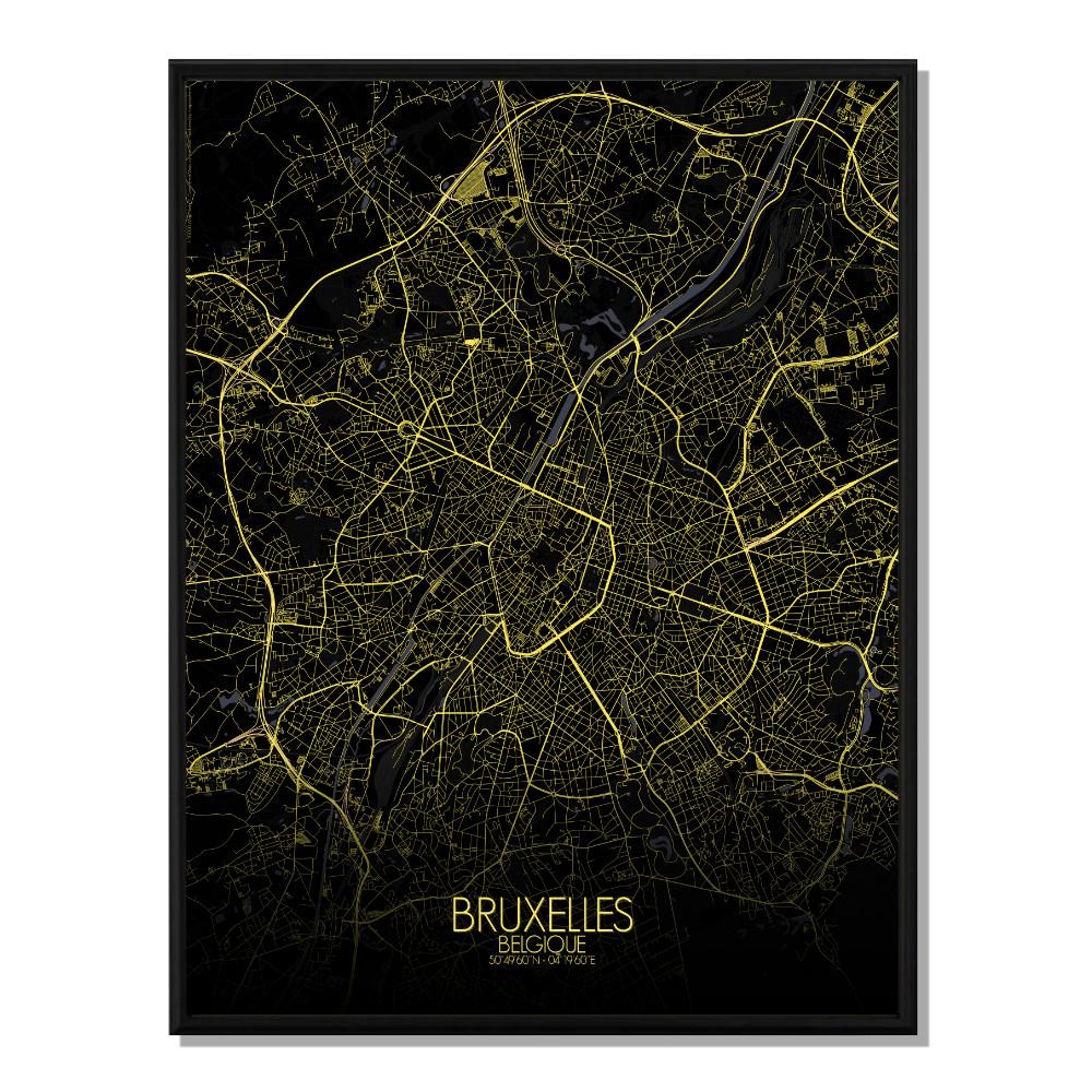 BRUXELLES - Carte City Map Nuit 40x50cm