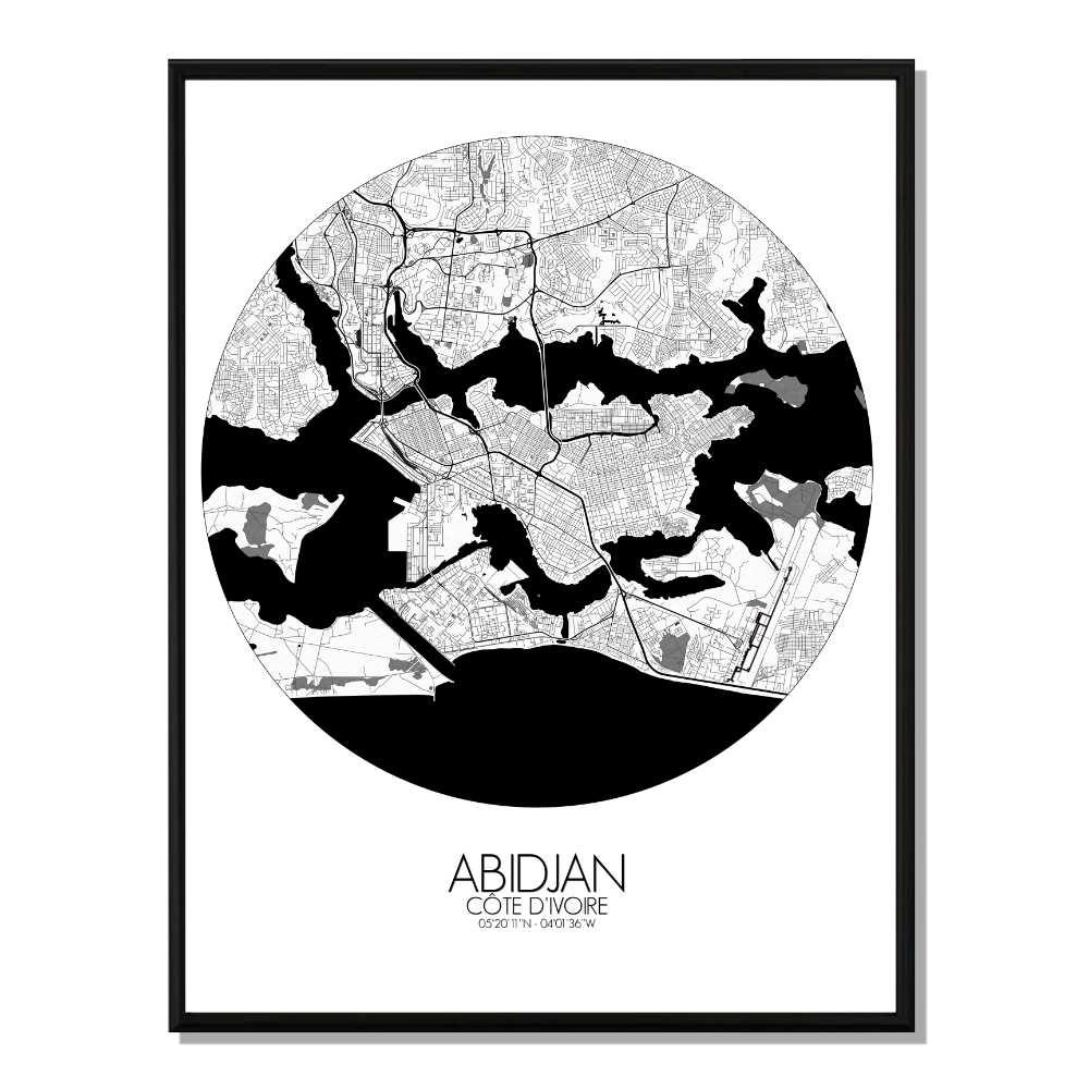 ABIDJAN - Carte City Map Rond 40x50