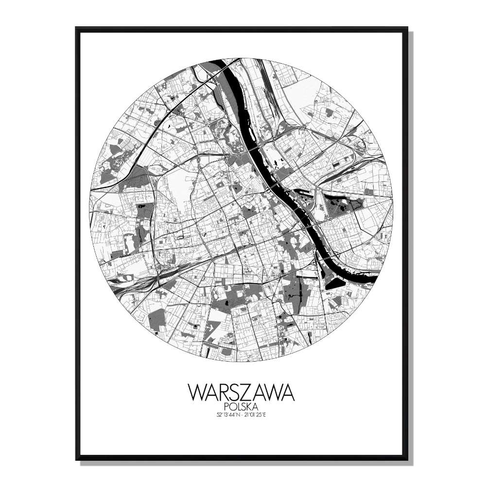 VARSOVIE - Carte City Map Rond 40x50cm