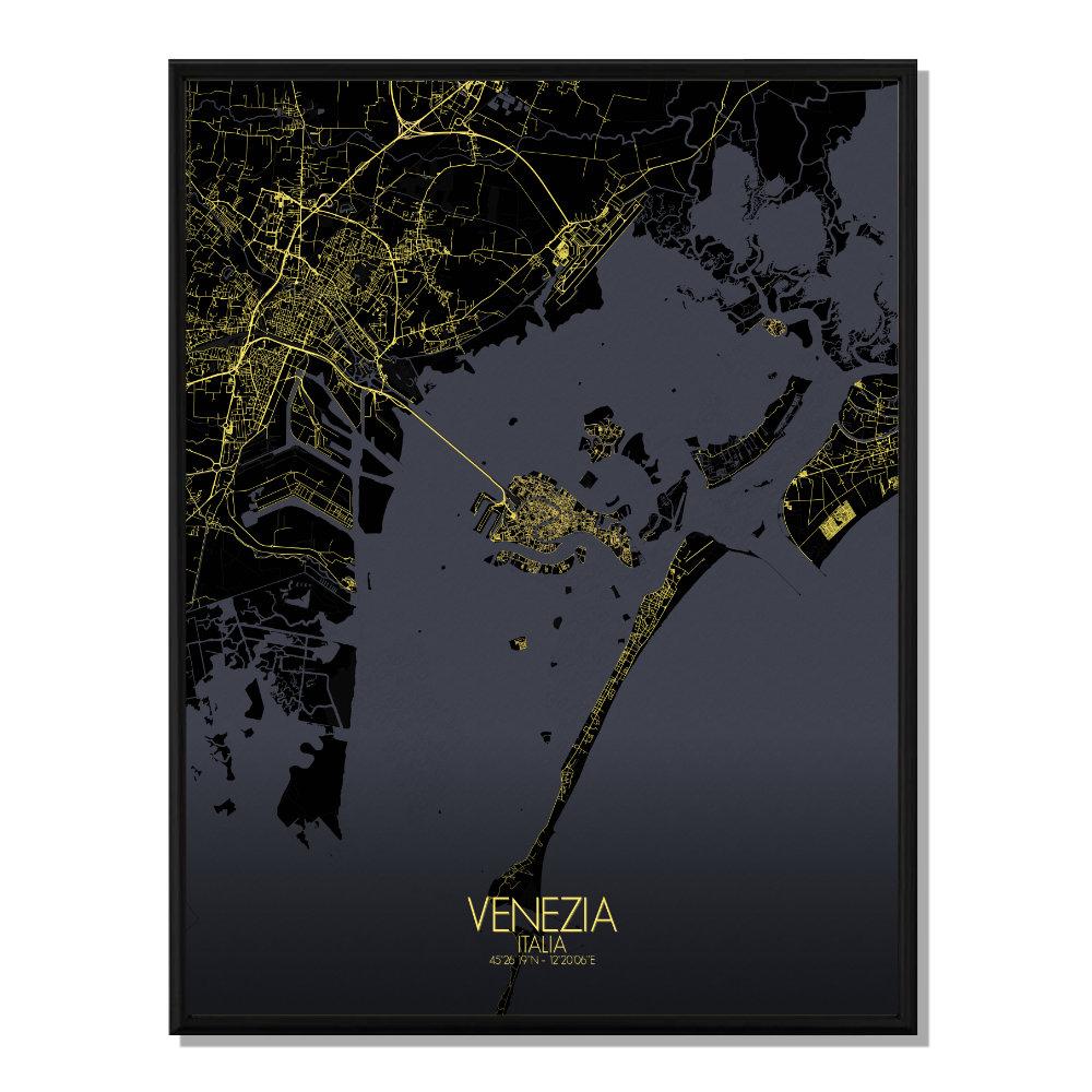 VENISE - Carte City Map Nuit 40x50cm