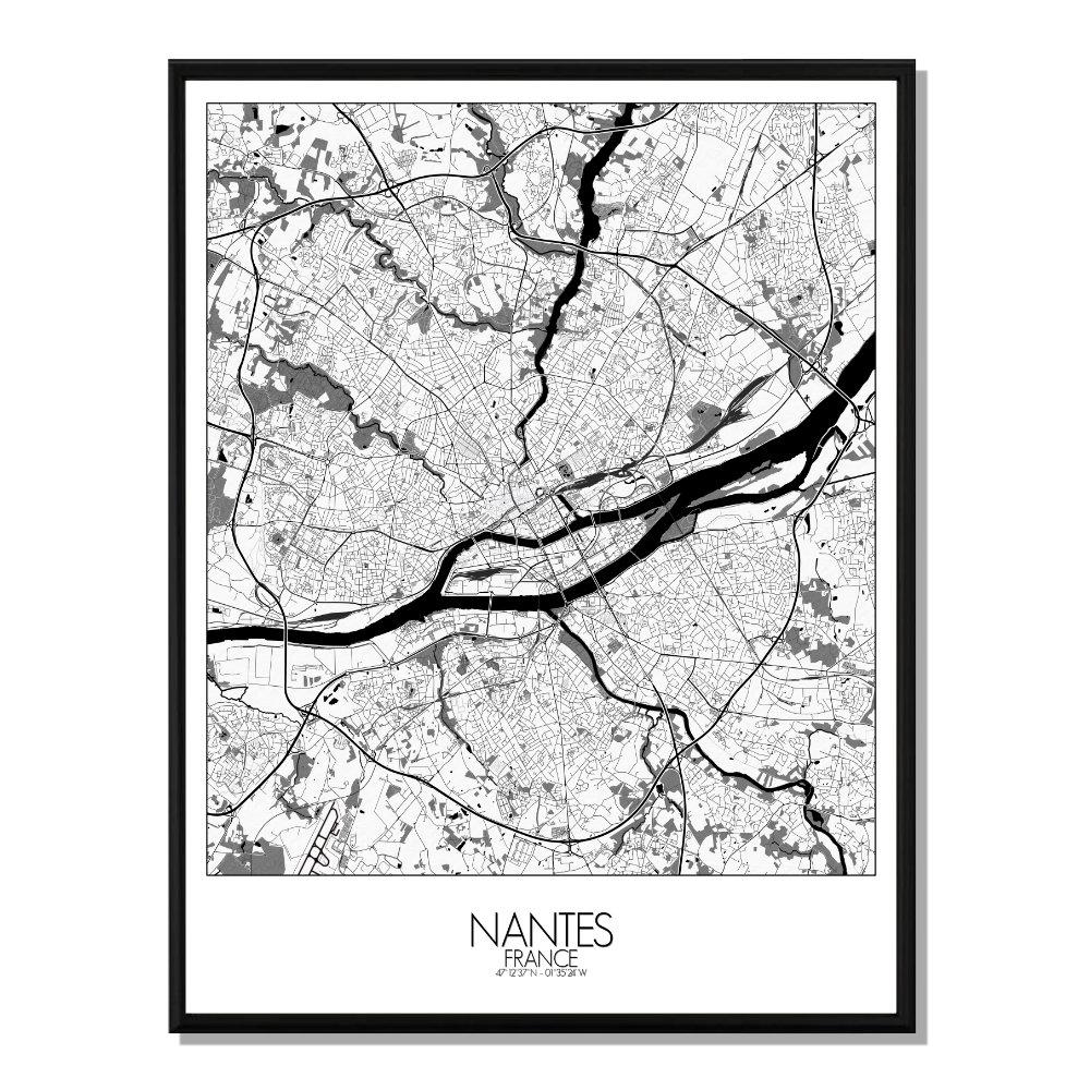 NANTES - Carte City Map N&B 40x50cm