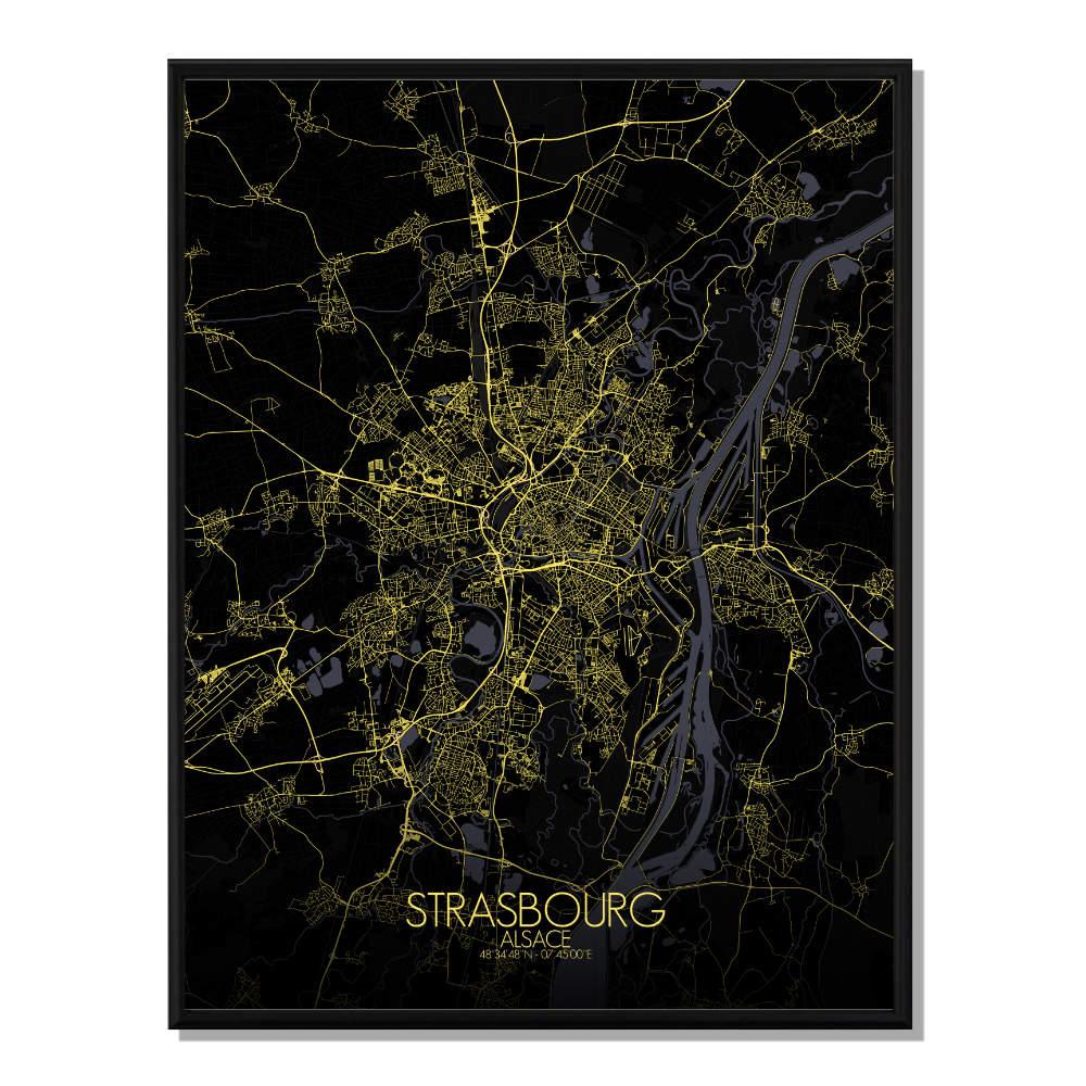 STRASBOURG - Carte City Map Nuit 40x50cm