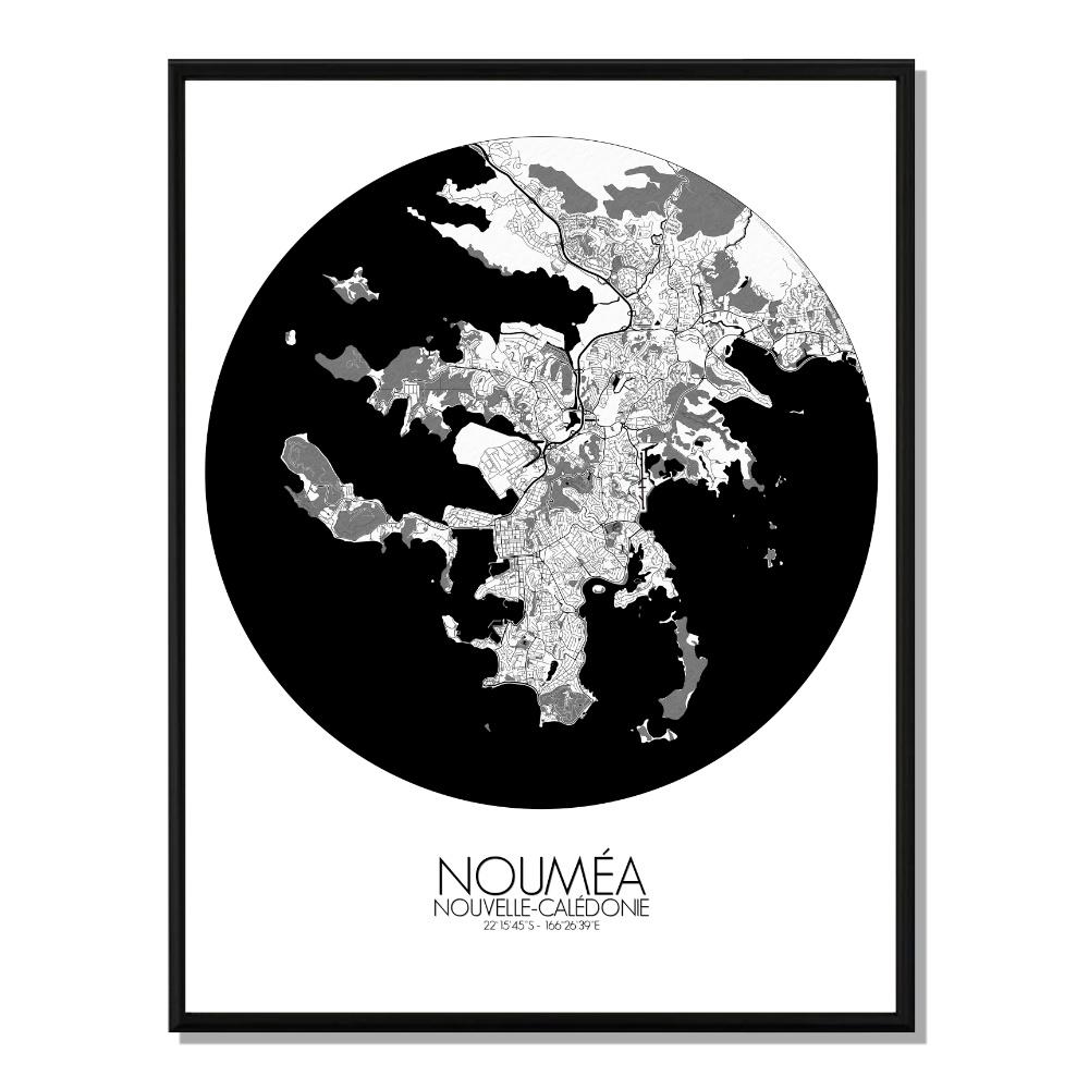 NOUMEA - Carte City Map Rond 40x50cm