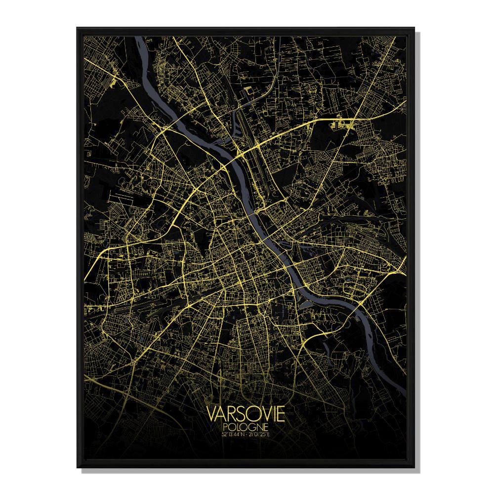 VARSOVIE - Carte City Map Nuit 40x50cm