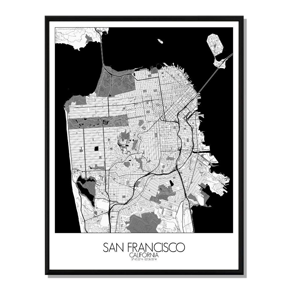 SAN FRANCISCO - Carte Map N&B 40x50cm
