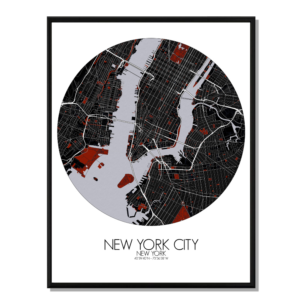 NEW YORK - Carte City Map Rouge