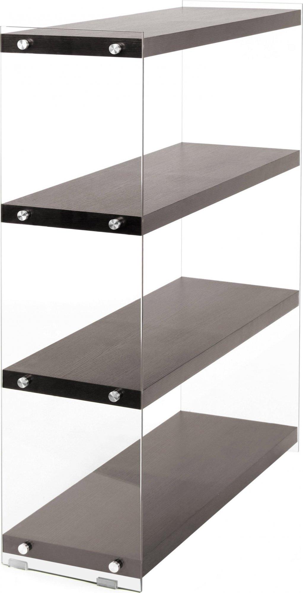 Etagère 4 étagères bois marron montant verre h113cm