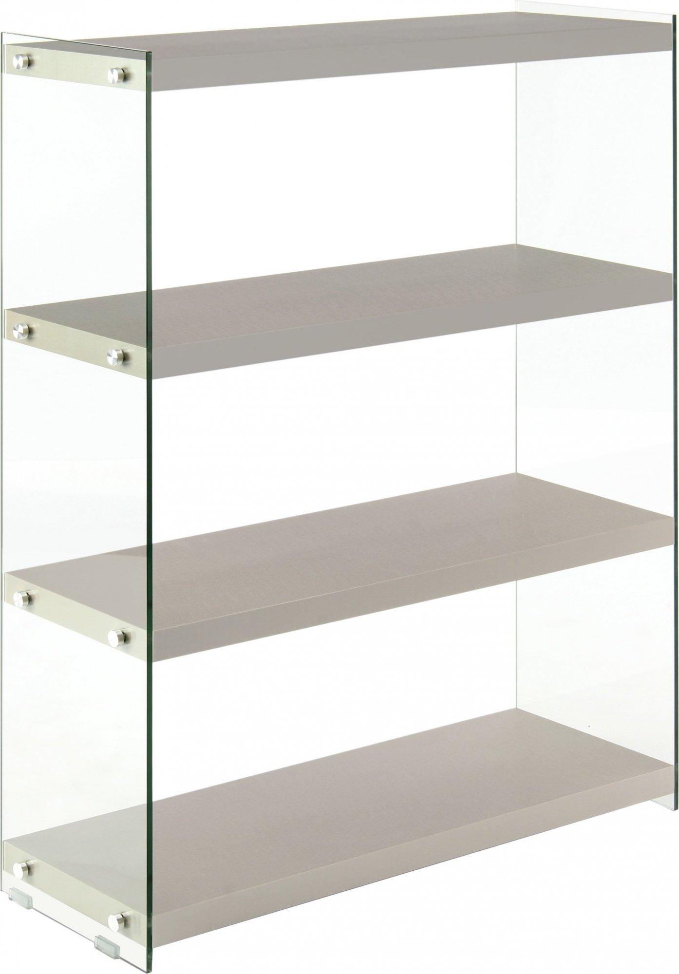 Etagère 4 étagères bois gris argent montant verre h113cm