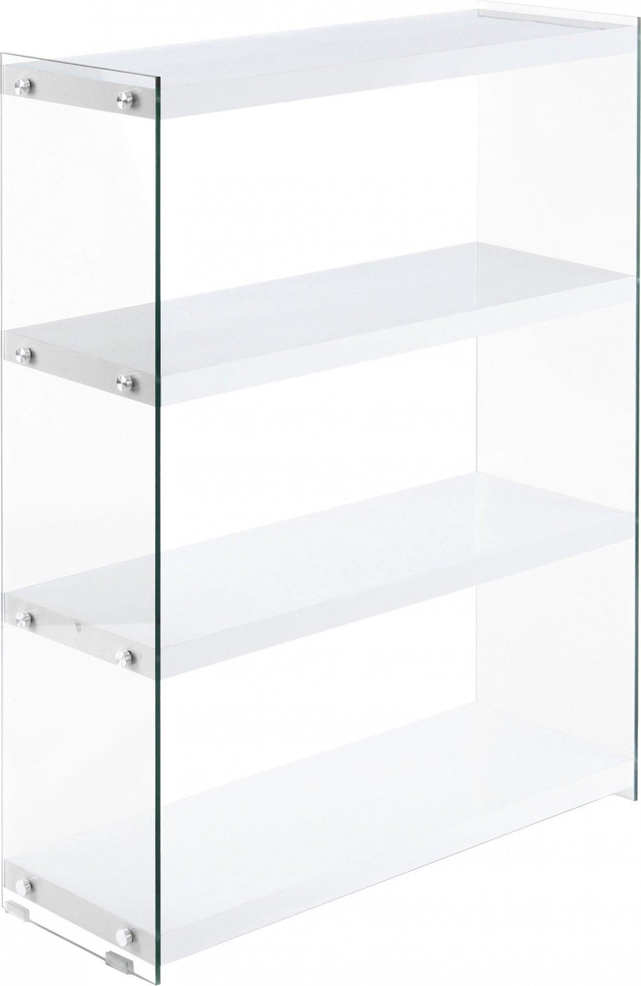 Etagère 4 étagères bois blanc montant verre h113cm