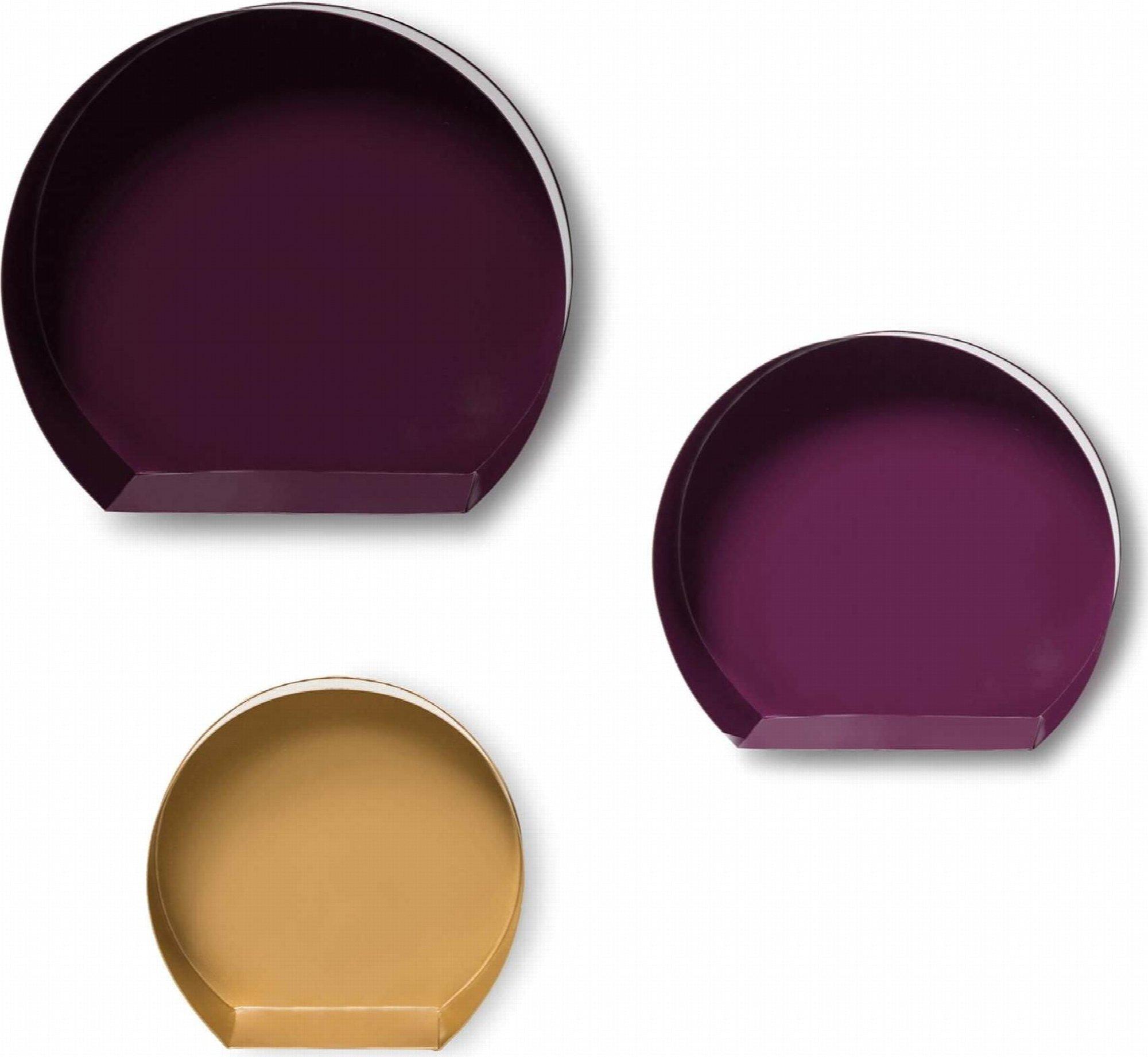 Etagère niche à accrocher violet jaune orangé (lot de 3)