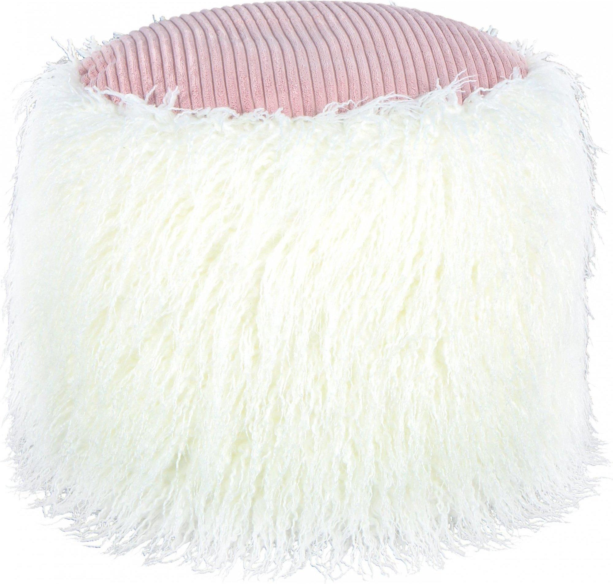 Pouf fourrure blanc et rose h38cm