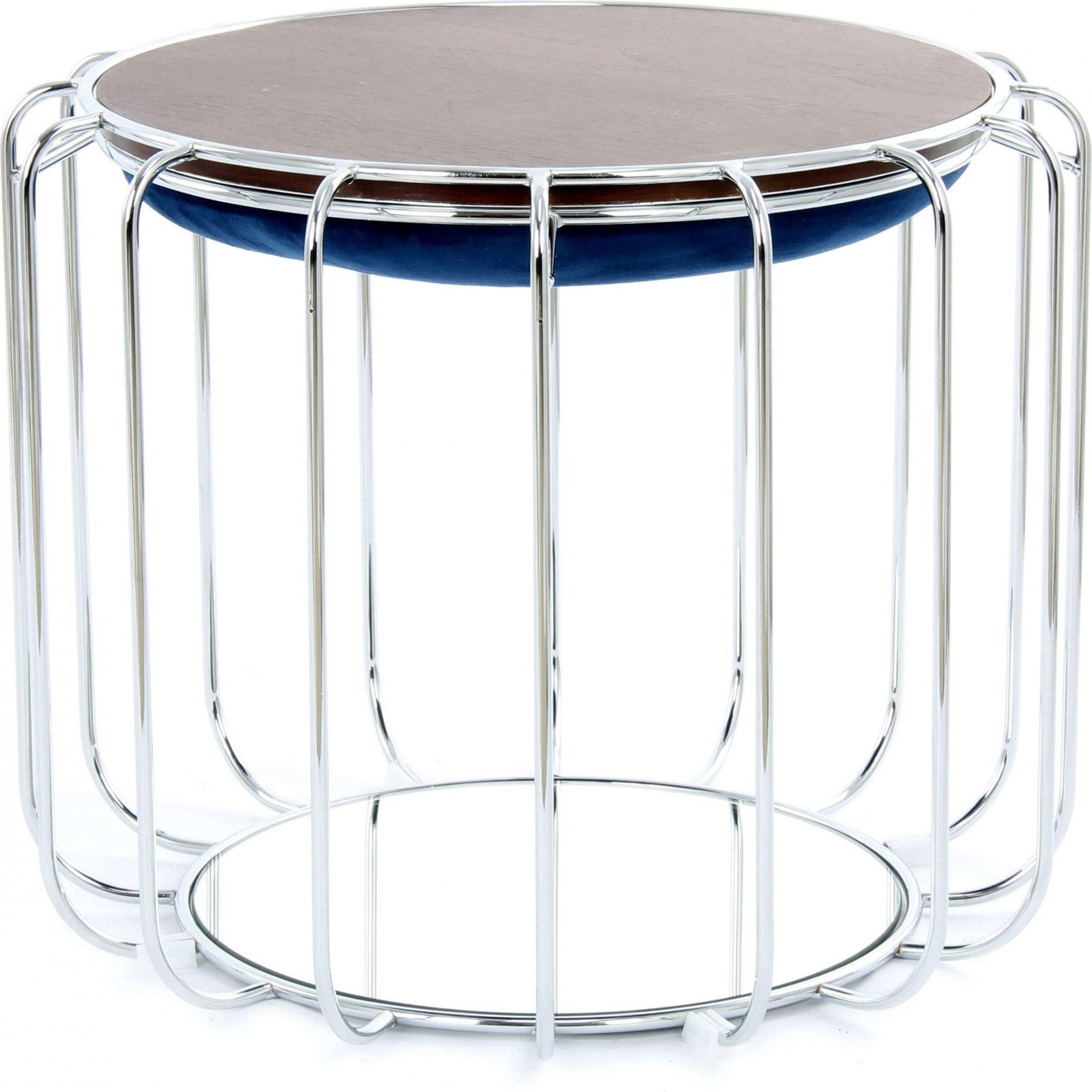 Table d'appoint réversible pouf bleu