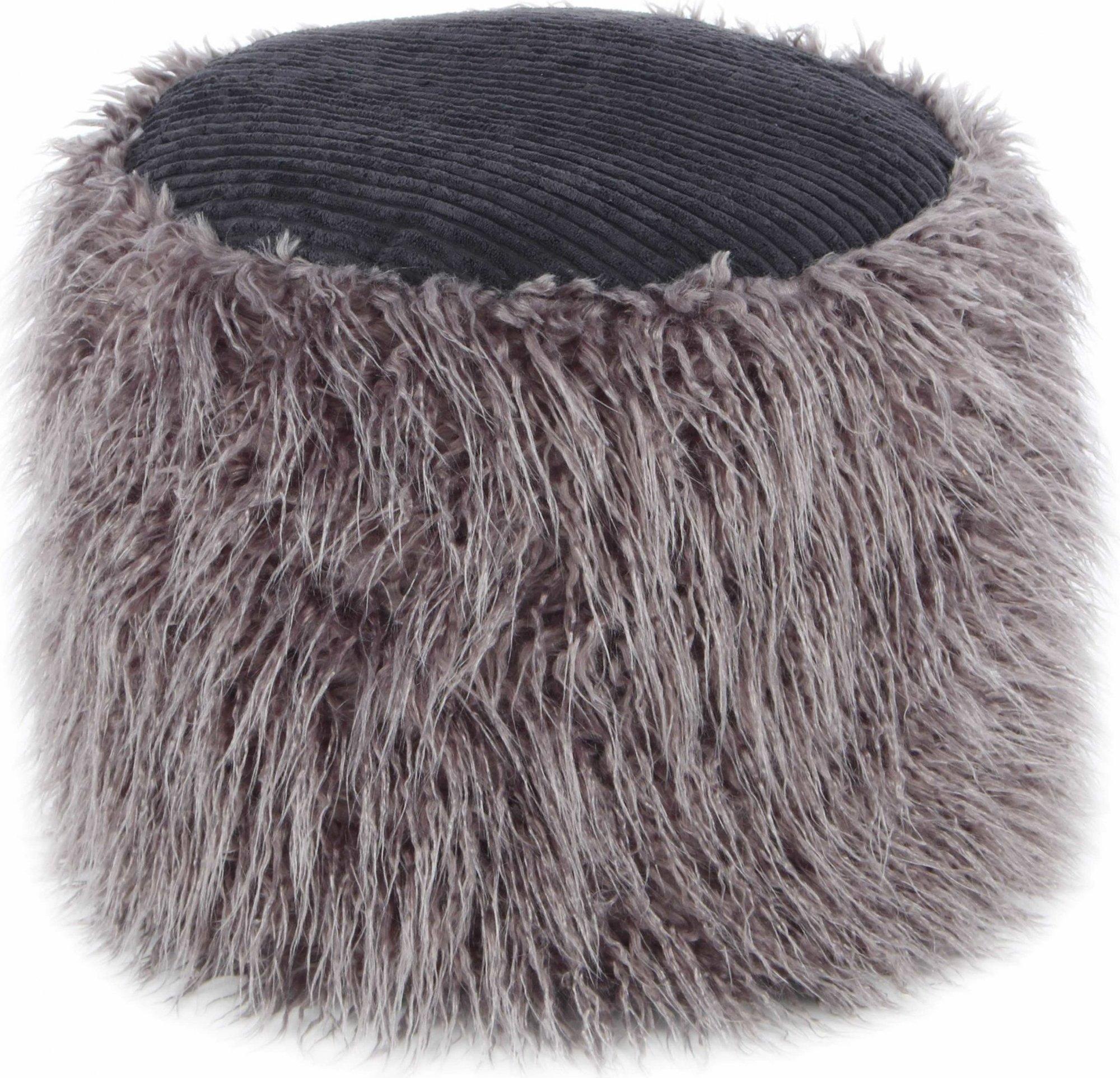 Pouf fourrure gris foncé et noir h38cm