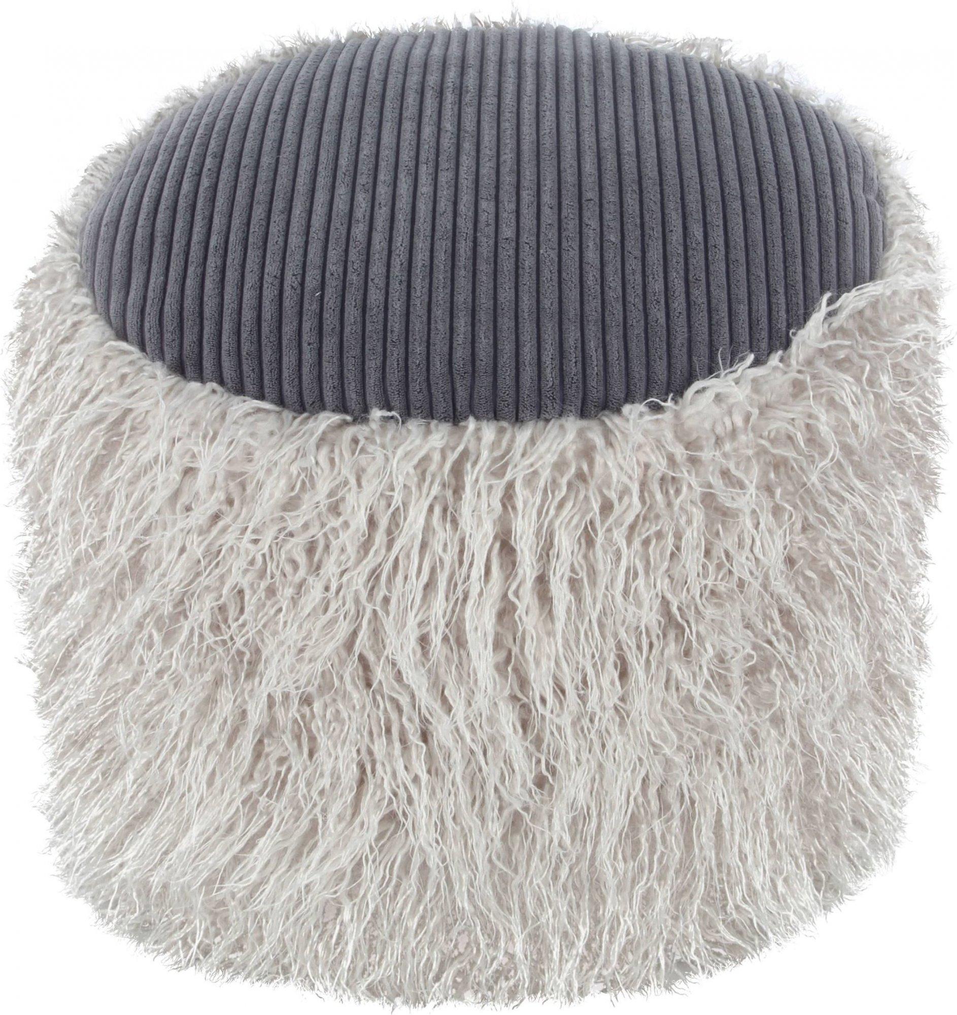 Pouf fourrure gris clair et gris foncé h38cm