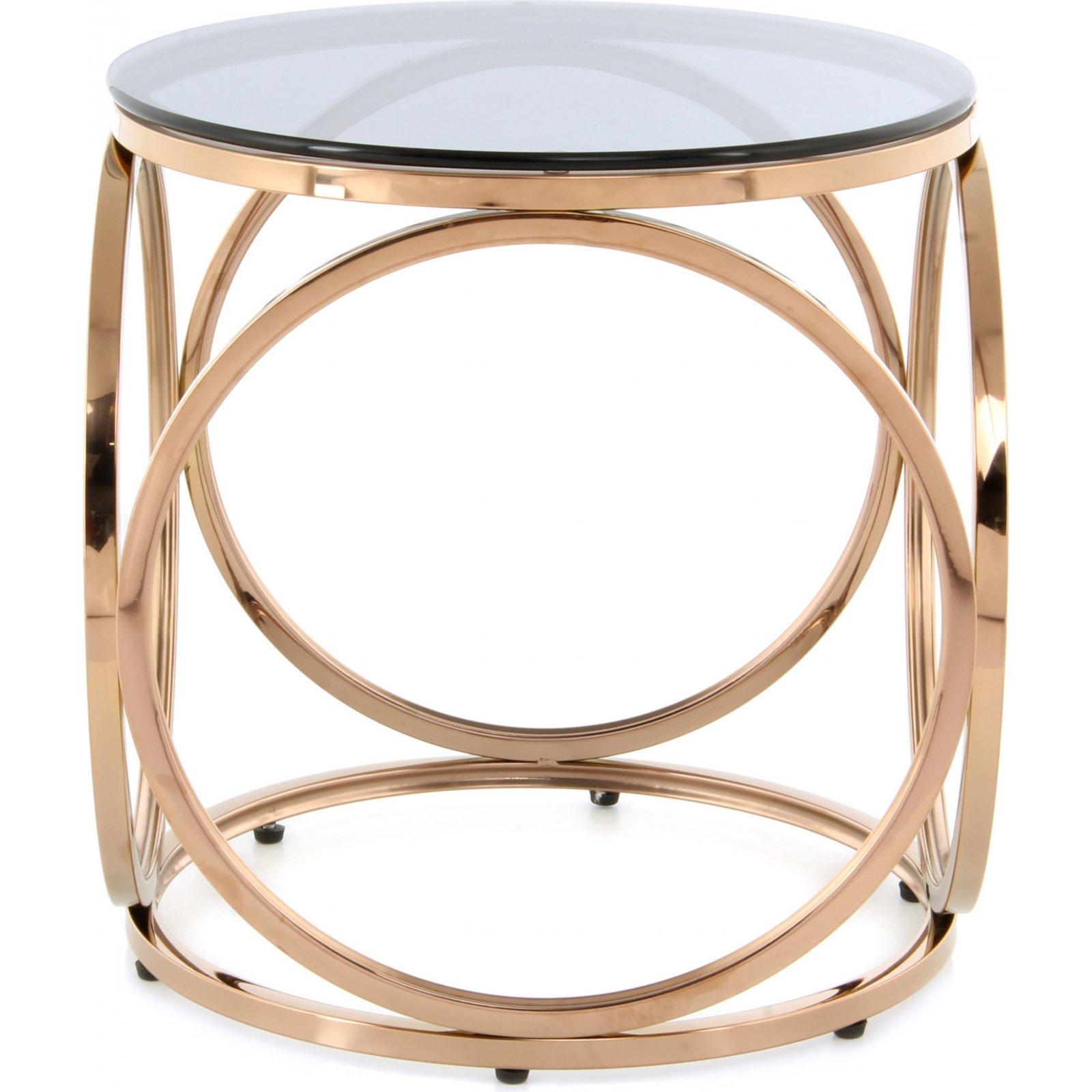 Table d'appoint ronde or rose plateau verre fumé d40cm
