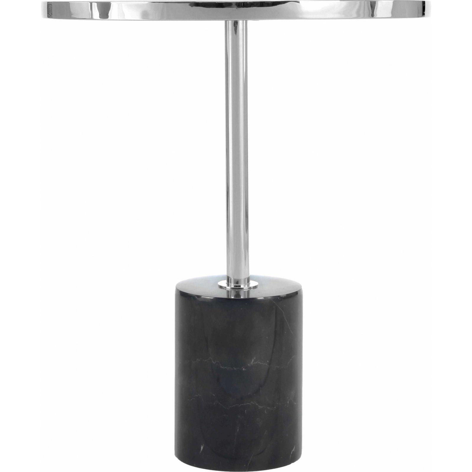 Table d'appoint ronde embase marbre noir cerclage or d46cm