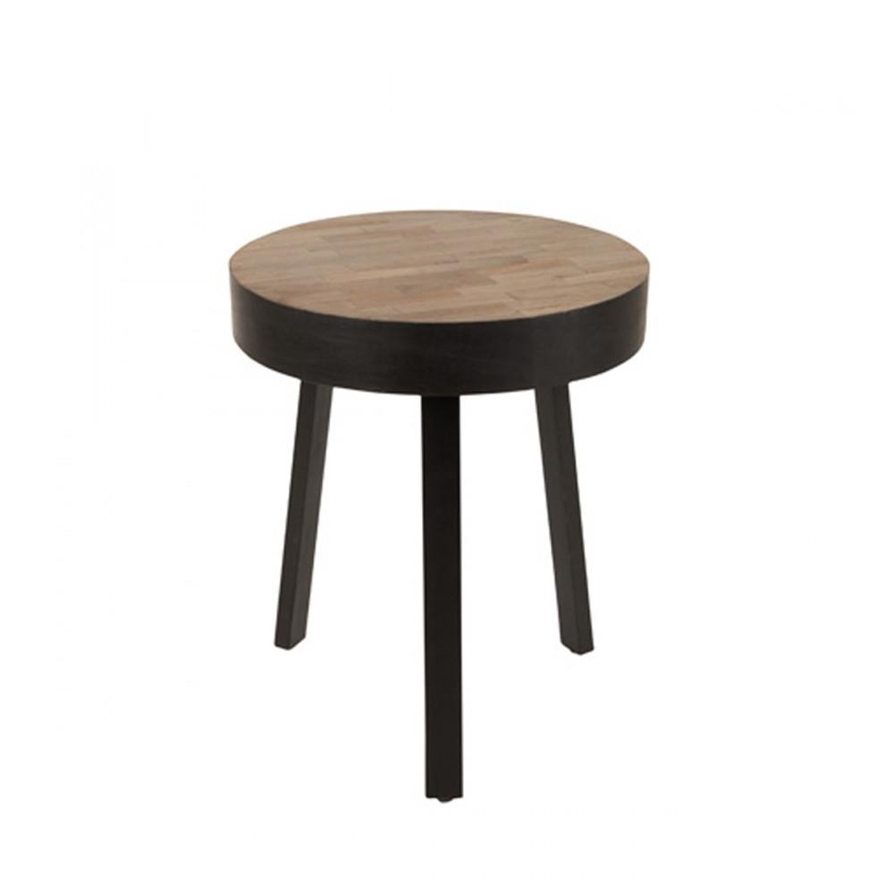 Table basse ronde D45cm en teck recyclé Small