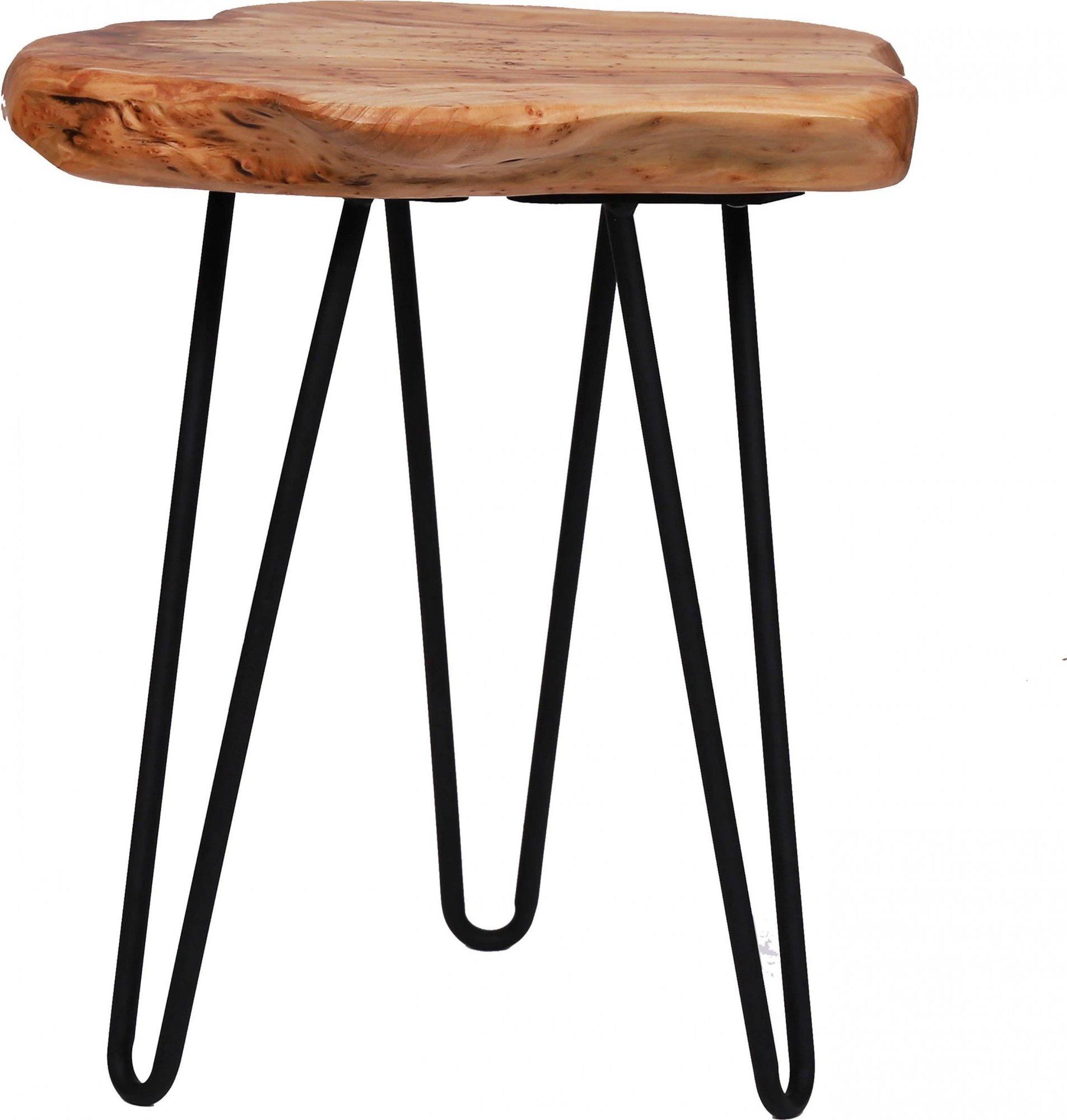 Table d'appoint cèdre pied métal noir