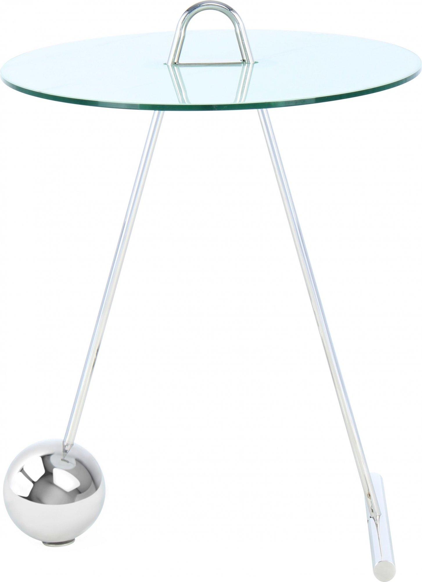 Table d'appoint ronde argent plateau verre d46cm