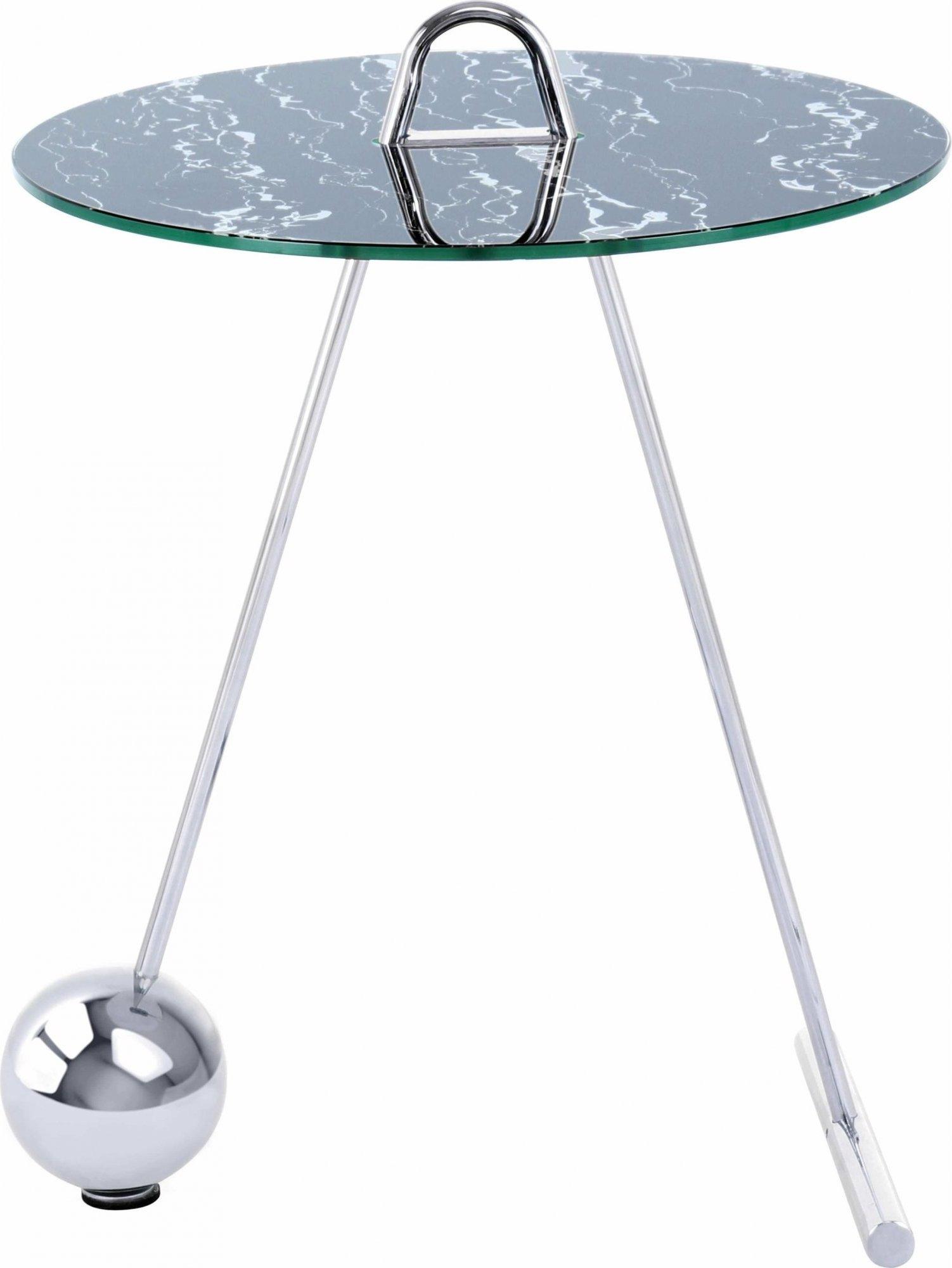 Table d'appoint ronde argent plateau marbre noir d46cm