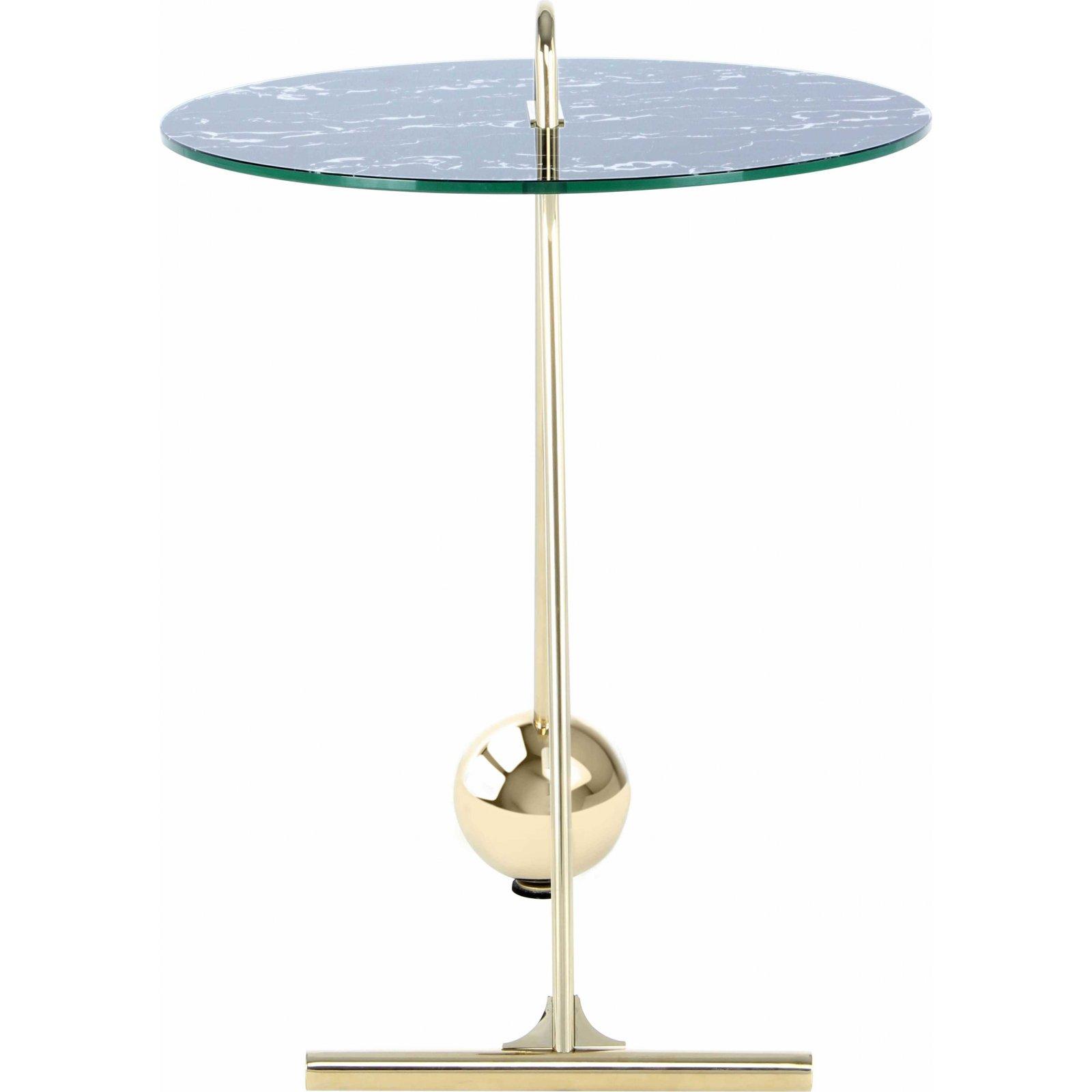 Table d'appoint ronde or plateau marbre noir d46cm