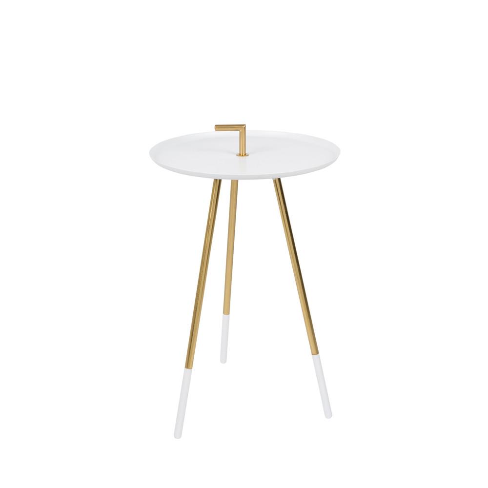 Table d'appoint métal laiton blanc