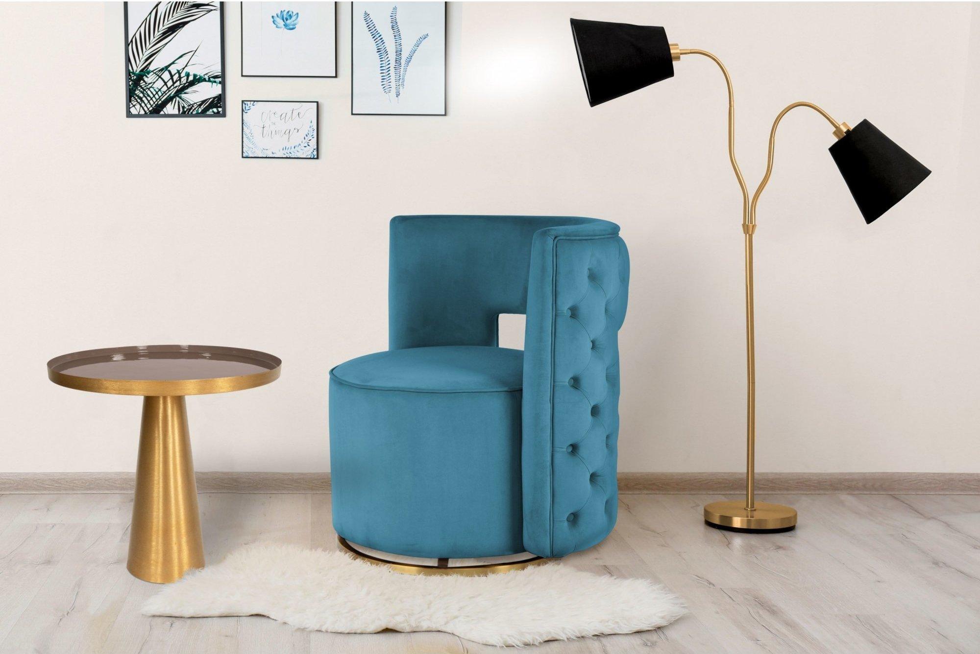Table d'appoint embase ronde doré plateau gris taupe d51cm