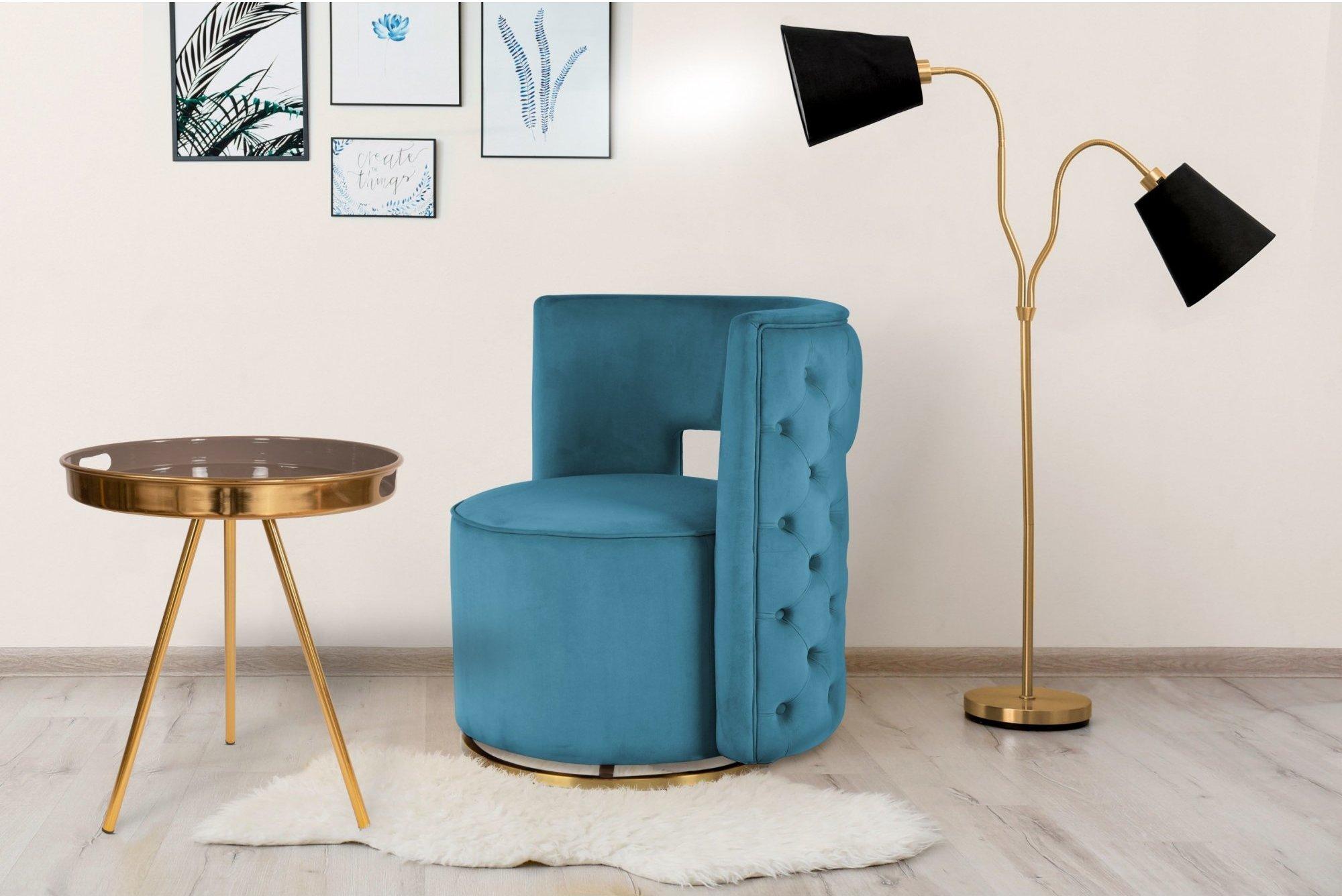 Table d'appoint ronde pieds doré plateau gris taupe d47cm