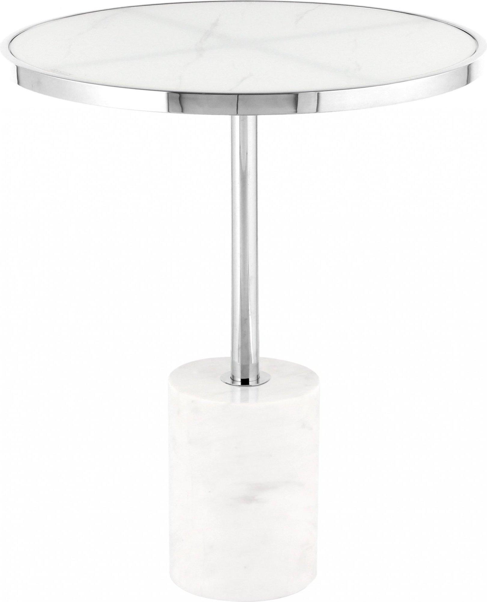 maison du monde Table d'appoint ronde embase marbre blanc cerclage argent d46cm