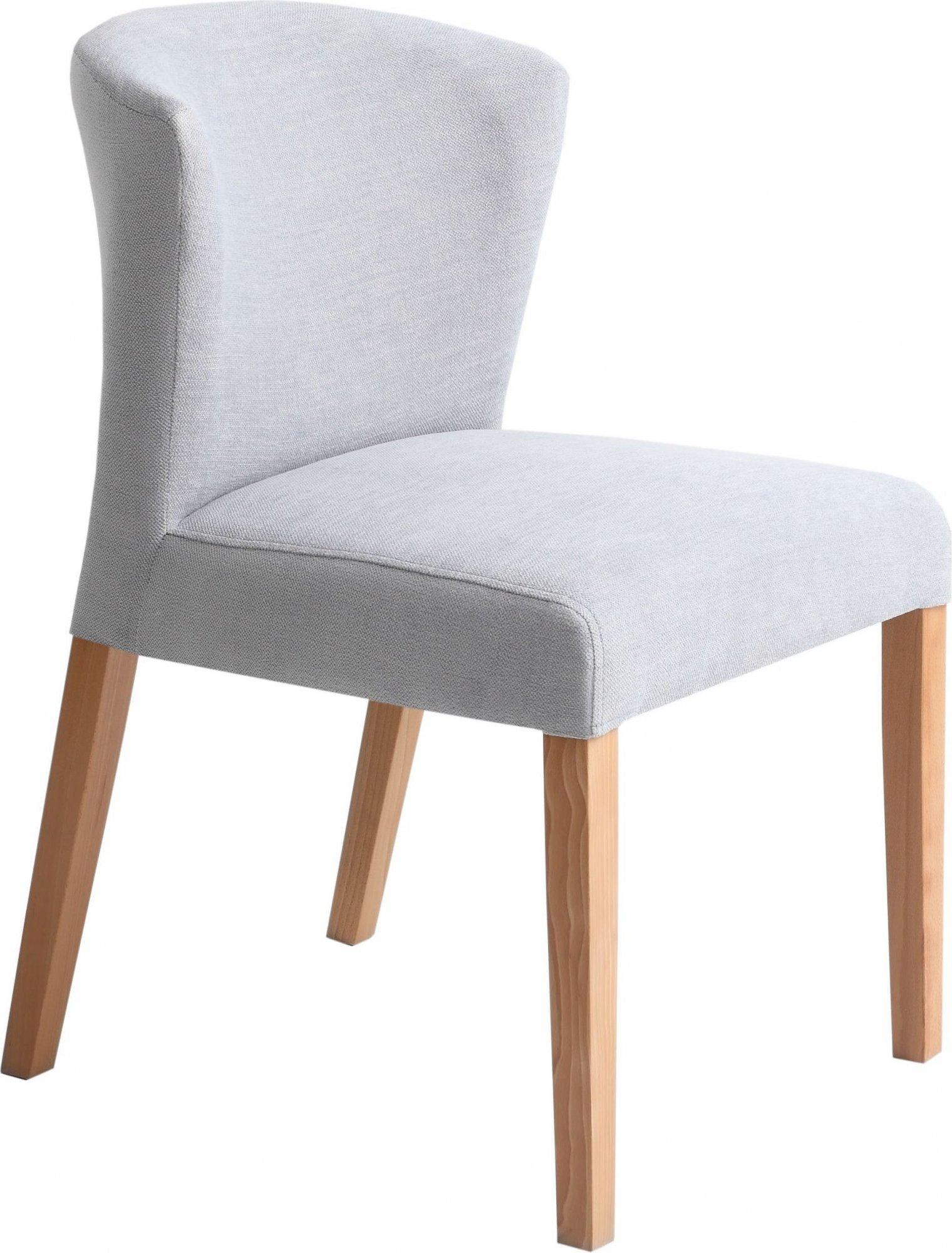 Chaise cosy rembourrée couleur gris clair pieds bois clair