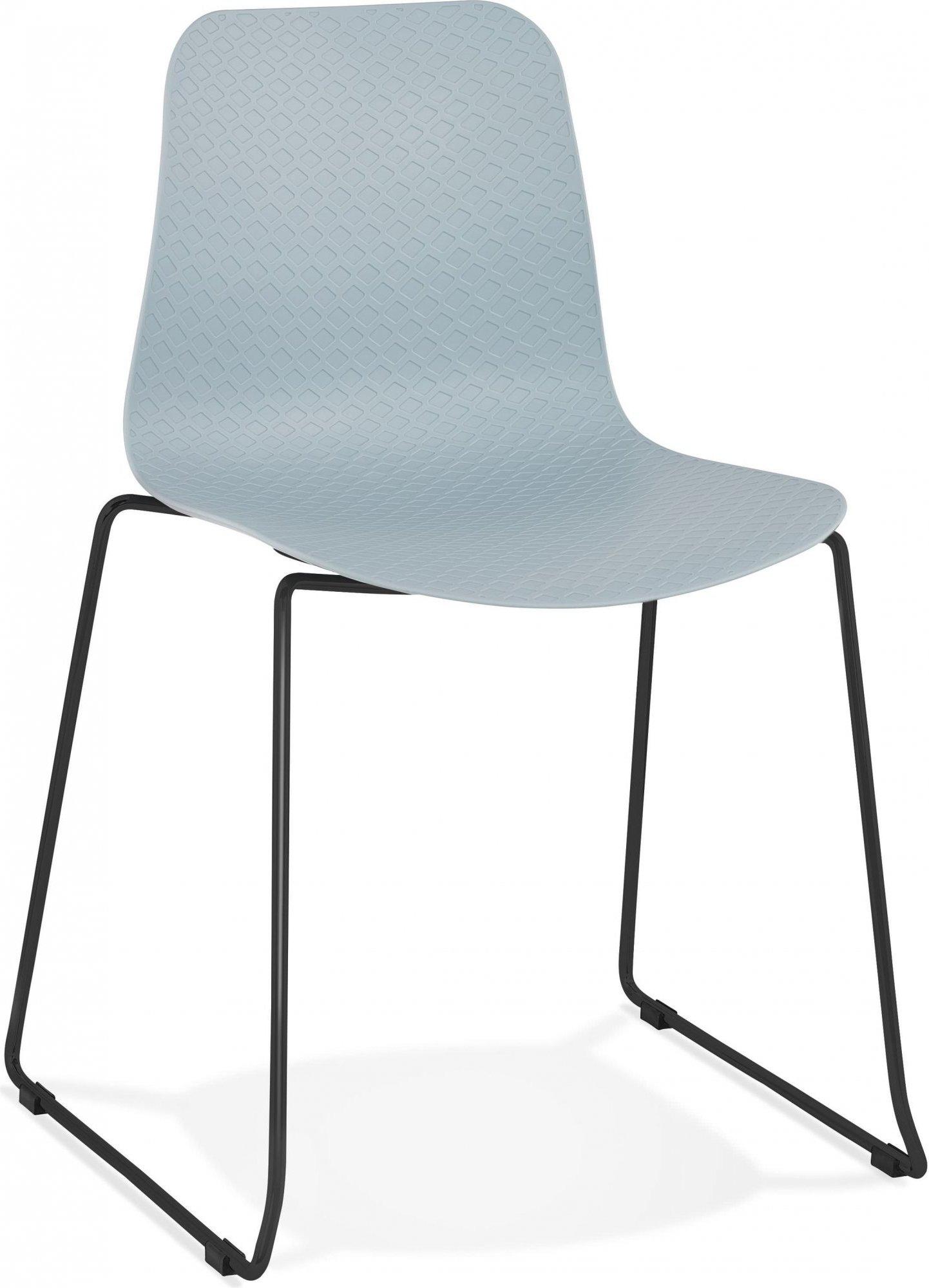 Chaise de table design assise couleur bleu pietement noir
